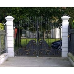 Wrought Iron Driveway Gate. Customize Realisations. 050 Wrought Iron Driveway Gates, Big Houses, Garage Doors, Sweet Home, Villa, Windows, Outdoor Decor, Fence Design, Fences