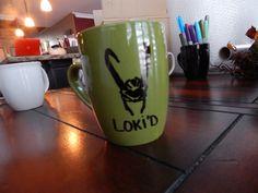 Loki'd  Loki helmet  hand painted mug by xMugShots on Etsy, $12.00