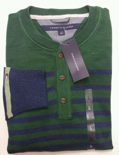 Tommy Hilfiger Men's Large Half Button Crew Neck Sweater Green Striped, NWT…