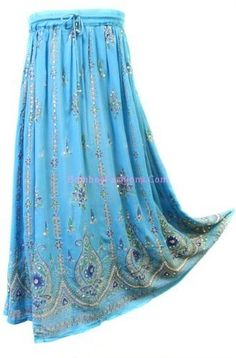 $14.99 BombayFashions DISCOUNTED Full/Ankle Length UNLINED Sequin Bohemian Gypsy Lightweight India Skirt $14.99
