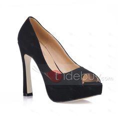 Elegant Black Suede Upper Stiletto Heels Peep-toes Wedding Shoes : Tidebuy.com