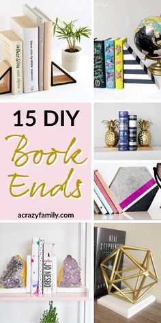 Want to up your Bookend game? These are 15 of the most amazing bookends that you can create yourself in no time! Wooden Arrows, Book Stands, Gold Diy, Ceramic Animals, Wooden Diy, Diy And Crafts, Shelves, Things To Sell, Shelving