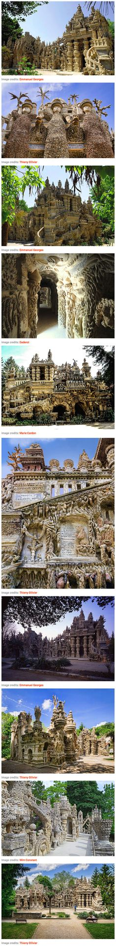 France is chock-full of palaces, but there's one – Palais Ideal – that stands out above the rest as a work of art and devotion. Ferdinand Cheval, a French postman with no formal architectural or artistic training, spent 33 years building this extraordinary structure by cementing together oddly-shaped rocks that he found along his mail route.