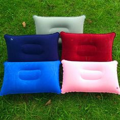 eb888296d65 New Double Sided flocking Inflatable Pillow Cushion Pad For Camping Travel  Hiking Sleep Rest 5 Colours