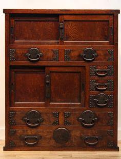 Japanese-antiques-Samurai-Geisha-Kimono-Tansu-Wood-Chest-Cabinet-Furniture-K722