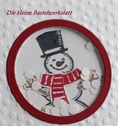 Stampin Up Schüttelkarte Schneemann Schneemänner Weihnachten Winter Es schneit  Karte Grußkarte