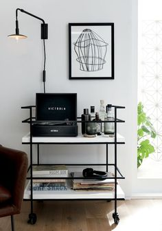May 2020 - Adina Black Cart with White Concrete Shelves Decor, Interior Design, Apartment Decor, Home, Interior, Black Living Room, Apartment Living Room, Home Decor, Room