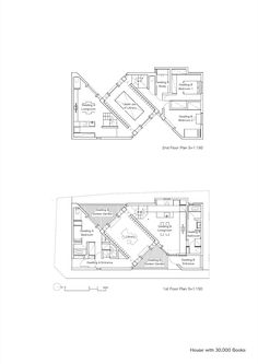 Image 27 of 28 from gallery of House with Books / Takuro Yamamoto Architects. Architecture Symbols, Architecture Concept Drawings, Architecture Plan, Residential Architecture, House Floor Plans, Tiny House Plans, Co Working, Architect House, Home Design Plans