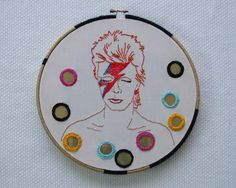 David Bowie + shisha [ with high life cans ] embroidery \\