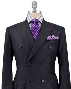 Isaia Charcoal Mini Houndstooth Double Breasted Suit - very much like the brunello cucinelli suit, but with a red accent on the boutonniere hole. Suit Up, Suit And Tie, Sharp Dressed Man, Well Dressed Men, Mens Attire, Mens Suits, Suit Fashion, Mens Fashion, Mode Chic