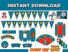 El inspector Gadget Party Kit para imprimir, cumpleaños, tarjeta de cumpleaños, fiesta Inspector Gadget, partido Inspector Gadget, fuentes del partido, descarga instantánea