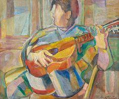 Edward KUŚNIERZ (1903-1992)  Grający na gitarze, ok. 1960 olej, płótno, 52,5 x 63 cm; sygn. p. d.: E. Kuśnierz