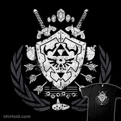 """Legend of Zelda T-Shirt by Chris Teall aka AutoSave. """"Hylian Crest"""" combines Legend of Zelda icons and symbols into a coat of arms. The Legend Of Zelda, Heroes And Generals, Shield Tattoo, Gamer Tattoos, Tatoos, Zelda Tattoo, Ocarina Of Times, Fantasy Tattoos, Video Game T Shirts"""