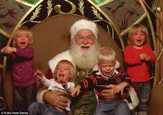 Hilarious photos show terrified children in tears as they visit Santa Claus in his grotto | Daily Mail Online