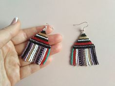 FREE SHIPPING/Long Beaded Earrings/multi color/wearable   Etsy