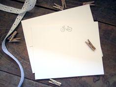 SALE //  bicycle letterpress notecards - set of 5 flat cards. $6.00, via Etsy.