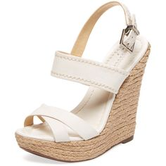 Schutz Women's Leather Espadrille Wedge Sandal - White - Size 10 ($109) ❤ liked on Polyvore featuring shoes, sandals, white, wedge sandals, high wedge sandals, espadrille wedge sandals, platform sandals and white ankle strap sandals