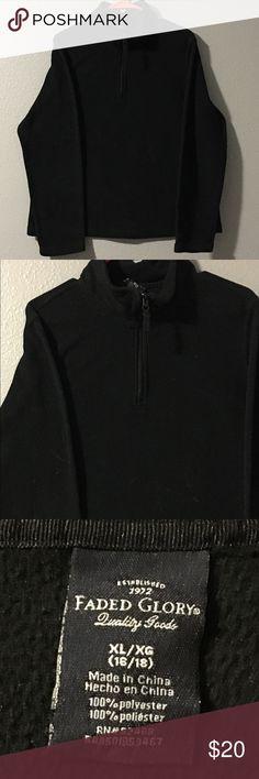 Faded Glory pull over jacket w/ zipper Faded 🖤 Glory pull over jacket w/ zipper• Black• Size- XL (16/18) 100% polyester Faded Glory Tops Sweatshirts & Hoodies