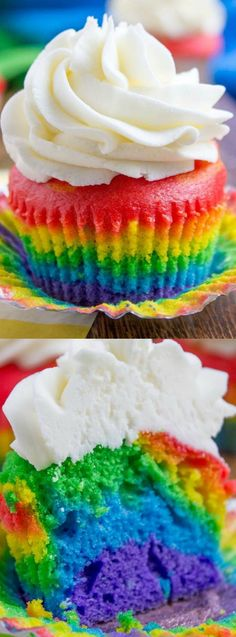 These Rainbow Cupcakes with Vanilla Cloud Frosting from Dessert then Dinner are guaranteed to be a huge hit at your next birthday party, summer get-together or even on St. Patrick's Day!