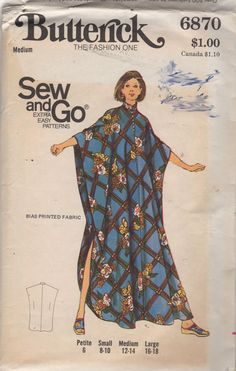 Butterick 6870 1970s Easy Pullover Mandarin Collar CAFTAN Pattern with shaped hemline womens vintage sewing patern by mbchills