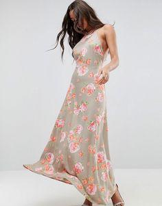 6b4765c2c71 Asos Open Back Maxi Dress In Pretty Floral Asos Long Dresses