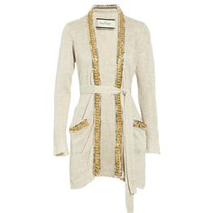 By Malene Birger Chennie embellished linen cardigan ($295) ❤ liked on Polyvore featuring tops, cardigans, jackets, outerwear, sweaters, embellished cardigan, embellished tops, tie waist top, beige cardigan and beige top
