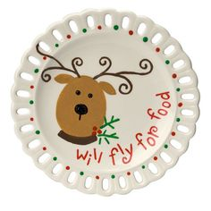 Flying Reindeer Plate