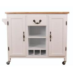 Basicwise White Large Wooden Kitchen Island Trolley with Heavy Duty Rolling Casters - The Home Depot Kitchen Island With Drawers, Kitchen Island Trolley, Rolling Kitchen Island, Grey Kitchen Island, Kitchen Island With Seating, Kitchen Islands, Island Cart, Kitchen Trolley, Storage Drawers
