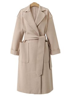 #Fashionmia - #Fashionmia Lapel  Patch Pocket  Plain Long Woolen Coat - AdoreWe.com
