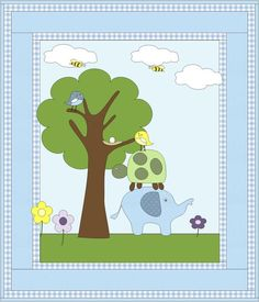 Elephant and Friends Quilt Pattern - Boy & Girl colorways Baby Quilts To Make, Baby Girl Quilts, Boy Quilts, Girls Quilts, Baby Quilt Patterns, Patchwork Baby, Custom Quilts, Baby Blocks, Nursery Themes