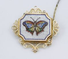 c1860 ANTIQUE 14K MICRO MOSAIC BUTTERFLY PIN