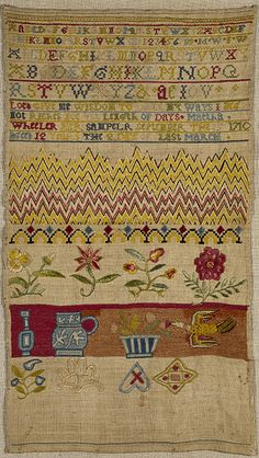 Sampler - Victoria & Albert Museum - 1710 - Martha Wheeler - Linen stitched in silk. (florentine, Gobelin, satin, stem, chain, button hole stitch, with eyelets)