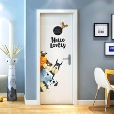 Ikeelife Door Murals Cartoon Animal Decals Door Wall Sticker Cabinet Wallpaper Mural Diy Home Decor Poster Decoration Dogs * Visit the image link more details. (This is an affiliate link)
