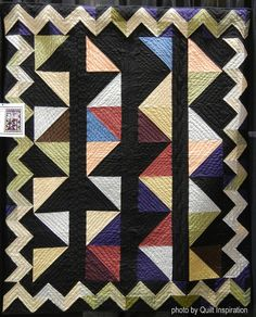 Half-Square Triangles with Zig Zag Border, made by Gwen Marston. From the book Free Range Triangle Quilts by Gwen Marston and Cathy Jones. Photo by Quilt Inspiration. Traditional Fabric, Amish Quilts, Half Square Triangles, Saturated Color, Couture, Quilt Blocks, Folk Art, Diy Crafts, Blanket
