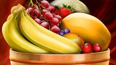 images of food art drawings and paintings | Fruit Basket Painting