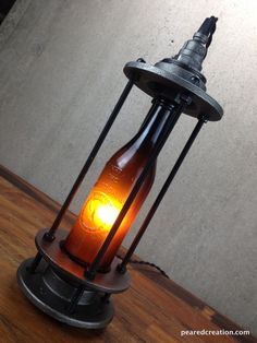 Items similar to Vintage Beer Bottle Lamp - Beer Promo - Industrial Lighting on Etsy Pipe Lighting, Industrial Lighting, Cool Lighting, Diy Bottle Lamp, Bottle Art, Lampe Steampunk, Beer Bottle Crafts, Luz Led, Pipe Lamp