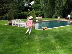Carolyne Roehm at Weatherstone pool