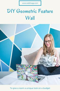 Easy to follow tutorial for creating you own geometric accent wall at home. Written tips + a video guide for a simple DIY project by painting a feature wall #homedecor #diy #accentwall #featurewall #geometricdecor Simple Diy, Easy Diy, Painting Tile Floors, Childrens Artwork, Geometric Decor, Artwork Display, Print Wallpaper, Color Of The Year, Bold Prints