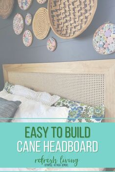 The perfect DIY home decor project to update your bedroom with this modern easy to build cane headboard. The perfect inspiration to update your entire bedroom around this modern home project! Diy Furniture Building, Diy Home Furniture, Diy Furniture Projects, Diy Home Decor Projects, Diy Home Crafts, Furniture Makeover, Pallet Projects, How To Make Headboard, Modern Headboard
