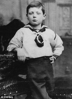 Confident pose: Winston aged seven. He went on to serve as Prime Minister from 1940-1945, during World War II, and again from 1951-1955