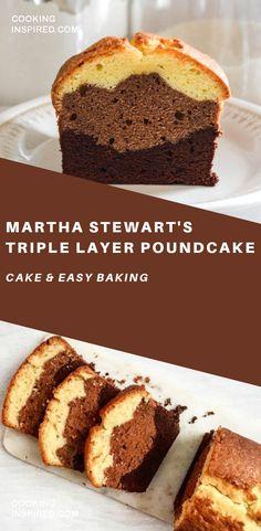Martha Stewart's Triple Layer Poundcake Easy Martha Stewart's Triple Layer Poundcake. Simple ingredients and delicious taste. Healthy Cake Recipes, Pound Cake Recipes, Cupcake Recipes, Baking Recipes, Dessert Recipes, Pound Cakes, Martha Stewart, Köstliche Desserts, Delicious Desserts