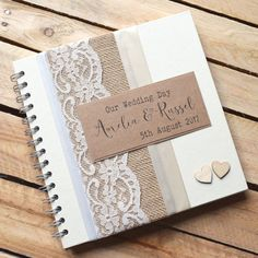 Burlap Rustic Wedding Scrapbook with Wooden by ThePaperBirdCompany Wedding Book, Our Wedding Day, Rustic Wedding, Wedding Albums, Lace Wedding, Wedding Scrapbook Pages, Album Scrapbook, Personalized Wedding Guest Book, Mini Albums