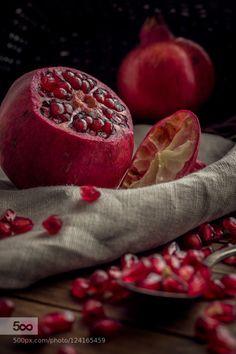 Pomegranate by xplor-creativity  IFTTT 500px wooden Food Spoon Wood closeup cloth cut delicious diet eating fresh fruit granatapfel
