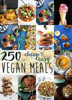 Over 250 stunning cheap & easy vegan meal ideas. All recipes are budget-friendly, no-fuss, quick and simple to make, and very very delicious! Informations About Cheap & Easy Vegan Meal Ideas Cheap Vegan Meals, Cheap Diet, Healthy Vegan Snacks, Vegan Foods, Vegan Dishes, Cheap Vegan Meal Plan, Vegan Recipes Easy Cheap, Healthy Recipes, Delicious Recipes