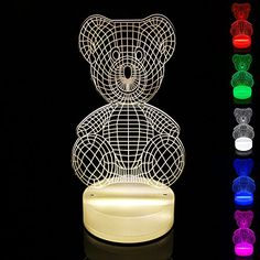 Perfect Lighting 3D Illusion Light LED Table Lamp Children Night Light USB Powered Light Christmas Home Decor Lighting Teddy bear MultiColor *** See this great product. (This is an affiliate link and I receive a commission for the sales)