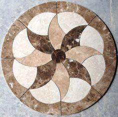 Marble Travertine Tile #Medallion Design Stone 28'' Floor Patterns, Tile Patterns, Balcony Glass Design, Decorative Stepping Stones, Stone Cladding, Travertine Tile, Foyer Design, Marble Texture, Wooden Art