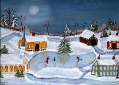 Folk Art SKATING signed print by Barbara Steele by southernheart Primitive Folk Art, Christmas Past, Home Art, Skate, Wall Art, Handmade Gifts, Gallery, Drawings, Pictures
