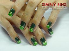 Keroppi or Frogs Nail Art Design
