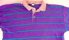 Admit One Polo Shirt Mens XL/2XL Purple Striped http://etsy.me/1DUAbmT #80s #vintage #clothes #hipster #feelthebern