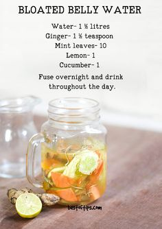 Detox Water For Treating Bloated Belly Whether that bloating is a result of fluid retention or excess gas, it can be a cause of extreme discomfort accompanied by an unwanted feeling of fullness in the abdomen and even abdominal pain. Detox Diet Drinks, Detox Juice Recipes, Natural Detox Drinks, Detox Diet Plan, Detox Juices, Cleanse Recipes, Detox Foods, Water Recipes, Natural Cleanse